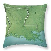 Louisiana State Usa 3d Render Topographic Map Border Throw Pillow