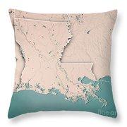 Louisiana State Usa 3d Render Topographic Map Neutral Border Throw Pillow
