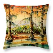 Louisiana Swamp Throw Pillow