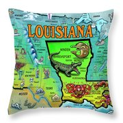 Louisiana Usa Cartoon Map Throw Pillow