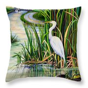 Louisiana Wetlands Throw Pillow by Elaine Hodges
