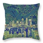 Louisville Kentucky Skyline Abstract 6 Throw Pillow