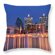 Louisville Panoramic At Blue Hour Throw Pillow