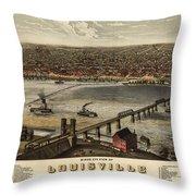 Louisville Vintage Map Throw Pillow