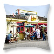 Loulou's On The Commercial Pier In Monterey-california Throw Pillow