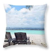 Lounge Chairs At The Beach In Maldives Throw Pillow
