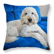 Lounging Goldendoodle  Throw Pillow