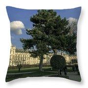 Louvre Sky Throw Pillow by Milan Mirkovic