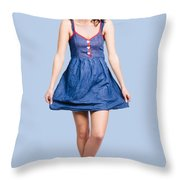 Lovable Eighties Female Pin-up In Denim Dress Throw Pillow
