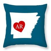 Love Arkansas White Throw Pillow