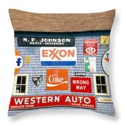Love Barn With Road Signs, Orland, Maine Throw Pillow