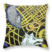 Love Between Valkyrie And Wolf Throw Pillow
