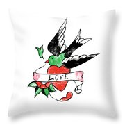 Love Bird Tattoo Throw Pillow