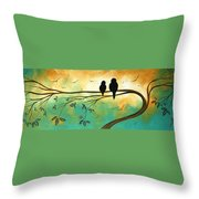 Love Birds By Madart Throw Pillow by Megan Duncanson