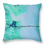 Love Birds In Blue Maternity Throw Pillow