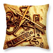 Love Charms In Romantic Signs And Symbols Throw Pillow