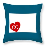 Love Colorado White Throw Pillow