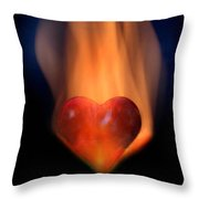 Love-heart In Flames Throw Pillow