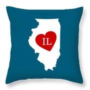 Love Illinois White Throw Pillow