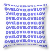Love In Blue Neon Throw Pillow