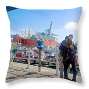 Love In The Port Of Valpaparaiso-chile Throw Pillow