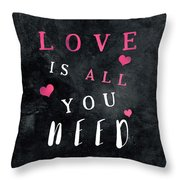 Love Is All You Need Motivational Quote Throw Pillow