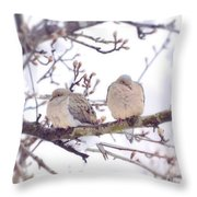 Love Is In The Air - Mourning Dove Couple Throw Pillow