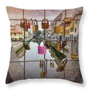 Love Lock Triangle At Naviglo Grande Milan Italy  Throw Pillow