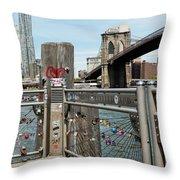 Love Locks In Brooklyn New York Throw Pillow