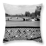 Love Locks Over The Seine Throw Pillow by Carol Groenen