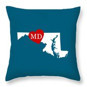 Love Maryland White Throw Pillow