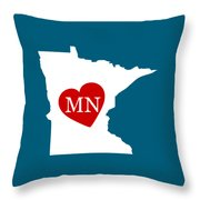 Love Minnesota White Throw Pillow