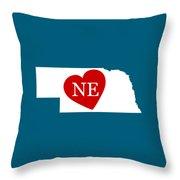 Love Nebraska White Throw Pillow