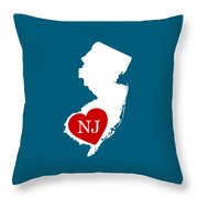 Love New Jersey White Throw Pillow