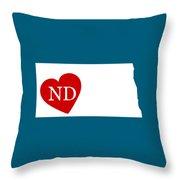 Love North Dakota White Throw Pillow