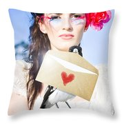 Love Note Delivery From The Heart Throw Pillow