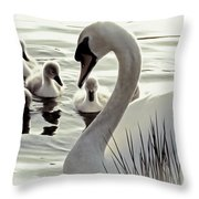 Love Of Mother Swan Throw Pillow