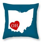 Love Ohio White Throw Pillow
