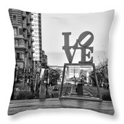 Love On The Parkway In Black And White Throw Pillow