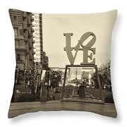 Love On The Parkway In Sepia Throw Pillow