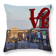 Love Park And The Parkway In Philadelphia Throw Pillow