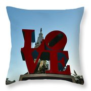 Love Park In Philadelphia Throw Pillow by Bill Cannon