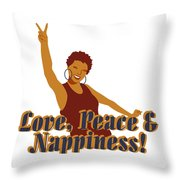 Love Peace And Nappiness Throw Pillow