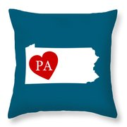Love Pennsylvania White Throw Pillow