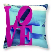 Love Philadelphia Neon Pink Throw Pillow