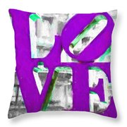 Love Philadelphia Purple Digital Art Throw Pillow