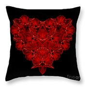 Love Red Floral Heart Throw Pillow