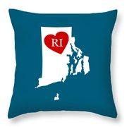 Love Rhode Island White Throw Pillow