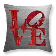 Love Sign Philadelphia Recycled Red Vintage License Plates On Aluminum Sheet Throw Pillow