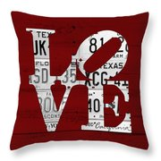 Love Sign Vintage License Plates On Red Barn Wood Throw Pillow